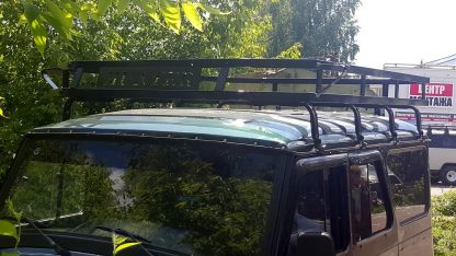 Багажник УАЗ 469, Хантер Викинг, 10 опор. Кронштейны под галогенные фонари. С двумя надписями HUNTER1