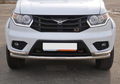 Защита переднего бампера УАЗ Патриот двойная с углами d мм