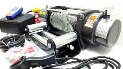 Лебедка v Electric Winch lbs  кг влагозащищенная IP со стальным тросом