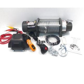 Фото 6 - Лебедка электрическая 12V Electric Winch GRIZZLY 12000lbs / 5443 кг (блок механизм IP66) со стальным тросом, съемный блок управления.