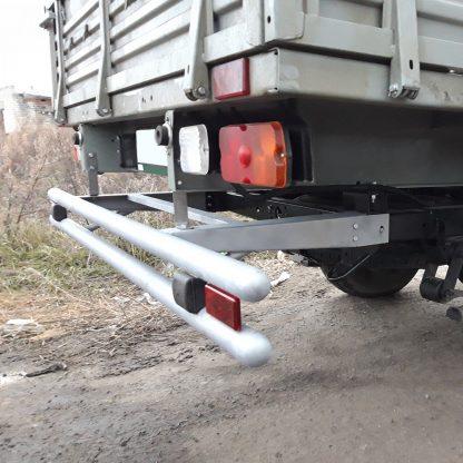 Защита-ограничитель задняя, сдвоенная на УАЗ Профи, с резиновыми отбойниками, катафотами.