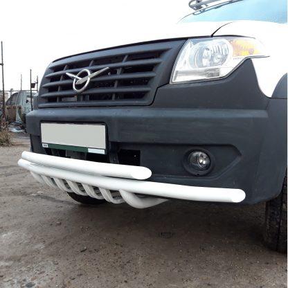 Защита переднего бампера сдвоенная УАЗ Профи с защитой рулевых тяг.