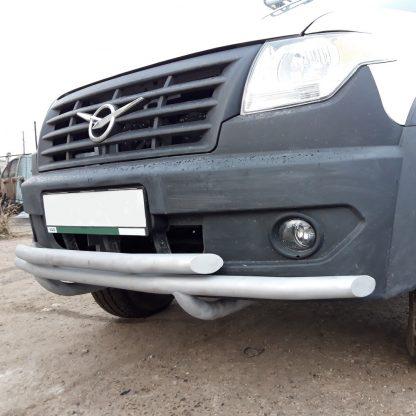 Защита переднего бампера сдвоенная УАЗ Профи.