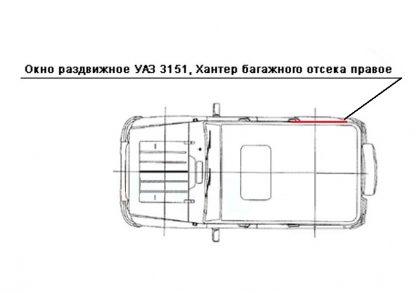 Окно раздвижное багажного отсека УАЗ 469, Хантер (ПРАВОЕ)23
